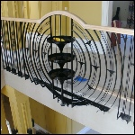 Balustrade across entrance balcony in an art deco style