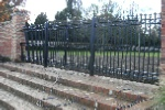 Double pedestrian gate with matching railing