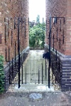 Walkway gate with side panels